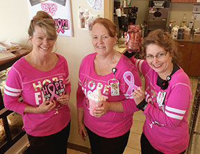 Paint Gillette Pink! The Coffee Shoppe at CCMH will also have a pink donation jar, so you can put the change from your cup of coffee to work to help others; or look for Paint Gillette Pink donation jars at gas stations and other businesses around town.