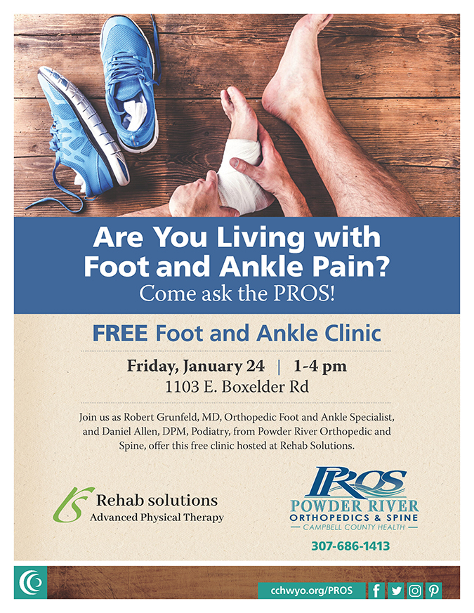 Free foot and ankle clinic in Gillette, Wyoming with Powder River Orthopedics & Spine