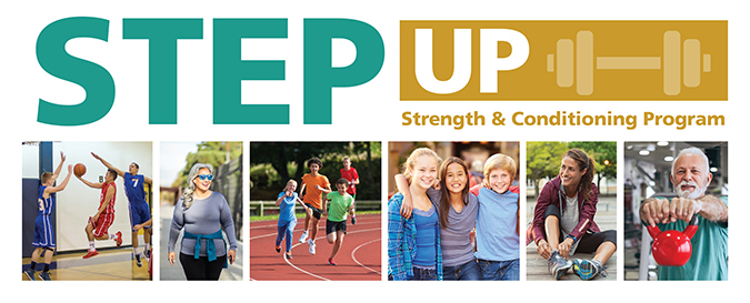 Step Up strength logo with photo collage of people exercising